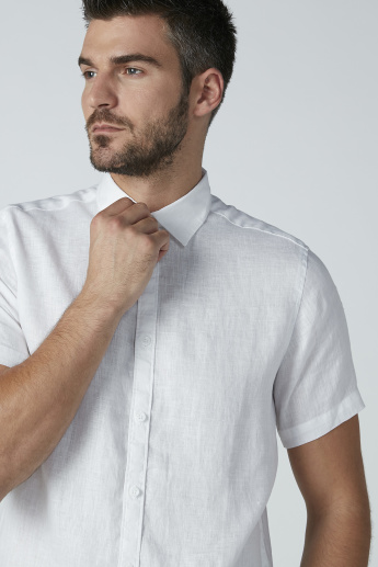 Short Sleeves Plain Shirt with Complete Placket
