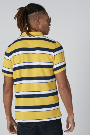 Sustainability Striped T-Shirt with Polo Neck