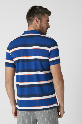 Sustainable Striped T-Shirt with Polo Neck