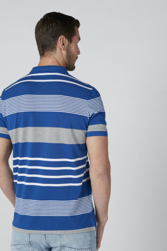 Sustainable Striped T-Shirt with Polo Neck and Short Sleeves