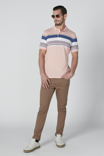 Sustainability Striped T-Shirt in Slim Fit with Polo Neck