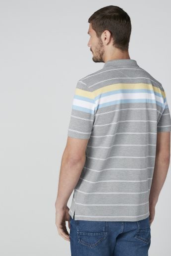 Sustainability Striped T-Shirt in Regukar Fit with Polo Neck