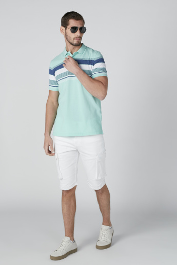 Sustainable Striped T-Shirt in Slim Fit with Polo Neck