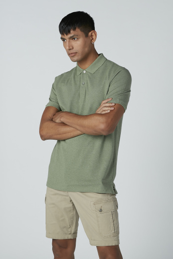 Plain T-shirt with Short Sleeves and Polo Neck