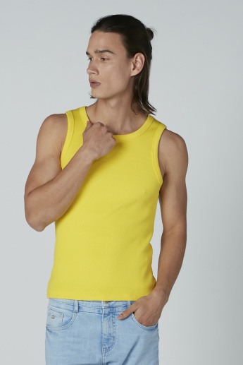 Ribbed Sleeveless T-shirt with Scoop Neck