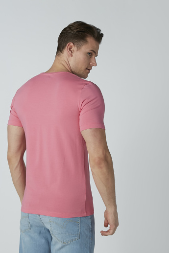 Solid T-shirt with Short Sleeves and Round Neck