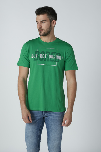 Sustainable Text Printed T-shirt with Crew Neck and Short Sleeves