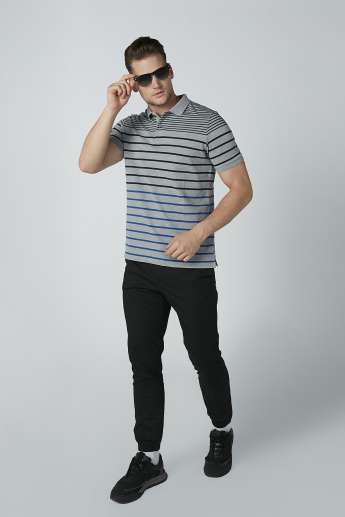 Striped T-shirt with Short Sleeves and Polo Neck