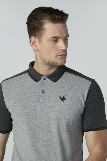 Embroidered T-shirt with Polo Neck and Short Sleeves