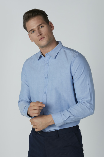 Plain Formal Shirt with Long Sleeves and Spread Collar
