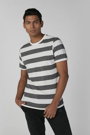 Sustainable Striped Crew Neck T-shirt with Short Sleeves