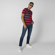 Sustainability Striped Crew Neck T-shirt with Short Sleeves