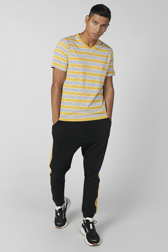 Sustainability Striped T-shirt with V-neck and Short Sleeves