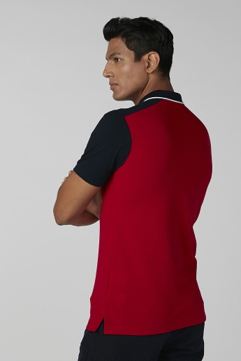Sustainability Colour Blocked T-shirt with Polo Neck and Short Sleeves