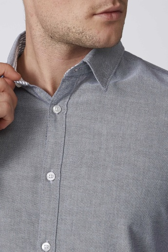 Sustainable Slim Fit Plain Shirt with Long Sleeves