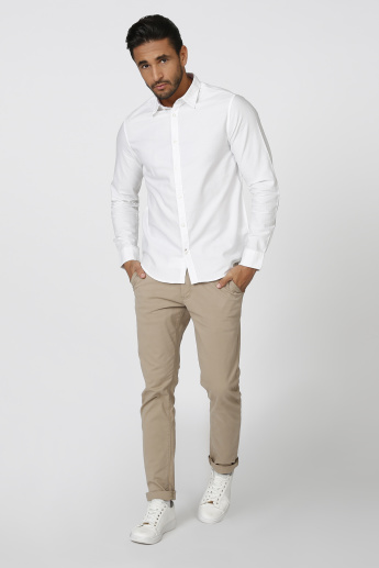 Sustainability Slim Fit Plain Shirt with Long Sleeves
