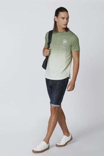 Sustainability Printed T-shirt with Crew Neck and Short Sleeves