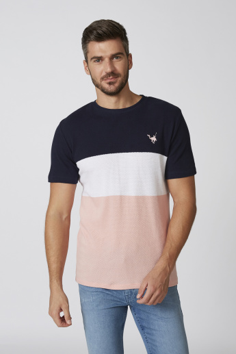 Sustainable Colour Block T-shirt with Round Neck and Short Sleeves