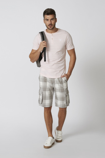 Sustainable Striped T-shirt with Henley Neck and Short Sleeves