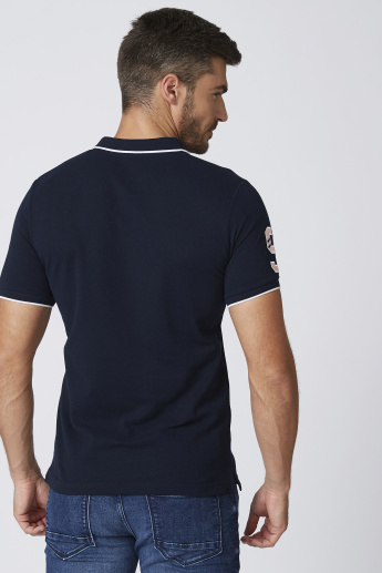 Sustainability Textured Slim Fit T-shirt with Polo Neck and Short Sleeves
