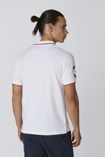Panelled Polo T-shirt with Applique Detail and Short Sleeves