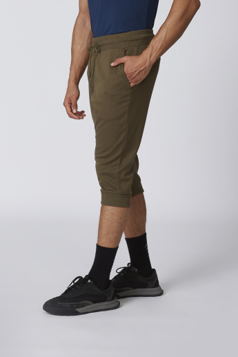 Plain 3/4 Flexi Waist Pants with Pocket Detail and Cuffed Hem