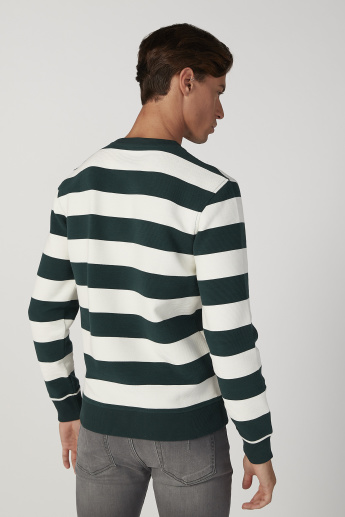 Sustainable Striped Sweatshirt with Crew Neck and Long Sleeves