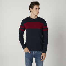 Sustainable Plain Sweatshirt with Crew Neck and Long Sleeves