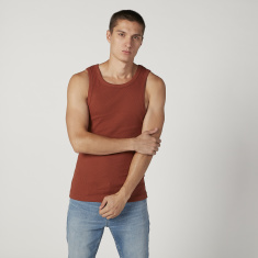 Plain Sleeveless Vest with Scoop Neck