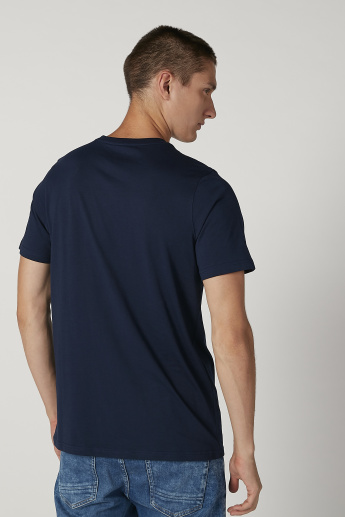 Slim Fit Printed T-shirt with Crew Neck and Short Sleeves