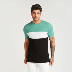 Sustainable Slim Fit Colourblock T-shirt with Crew Neck