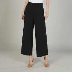 Bossini Textured Palazzo Pants with Elasticised Waistband