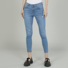 Bossini Distressed Jeans with Belt Loops and Pocket Detail