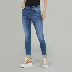 Bossini Distressed Jeans with Pocket Detail and Belt Loops