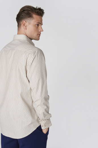 Easy Iron Striped Shirt with Long Sleeves and Complete Placket