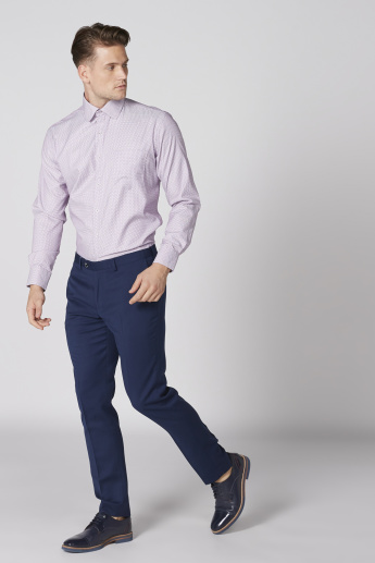 Easy Iron Textured Shirt with Long Sleeves and Complete Placket