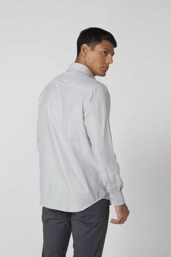 Textured Shirt with Long Sleeves and Complete Placket
