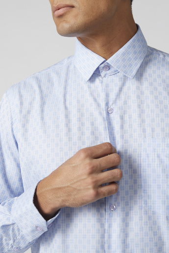 Easy Iron Checked Shirt with Sleeves Placket and Patch Pocket