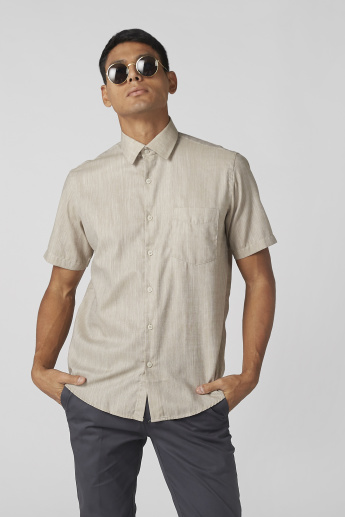 Textured Pocket Detail Shirt with Short Sleeves