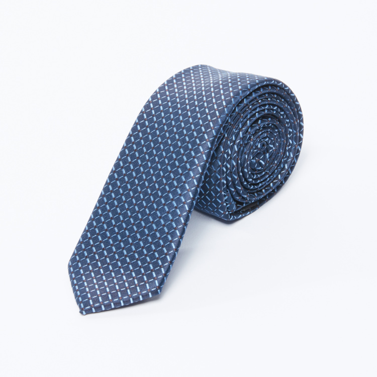 Chequered Structured Tie with Keeper Loop