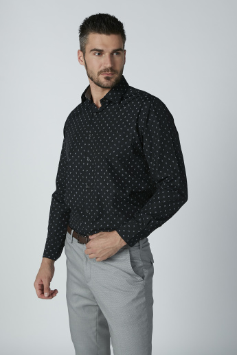 Easy Iron Printed Shirt with Long Sleeves and Spread Collar