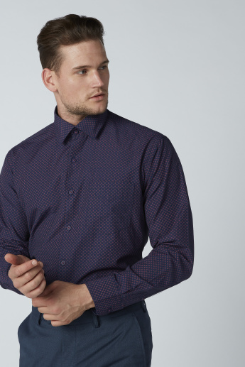 Easy Iron Printed Formal Shirt with Long Sleeves