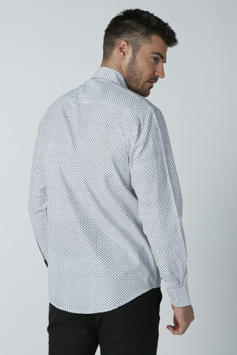 Printed Shirt with Long Sleeves and Curved Hem