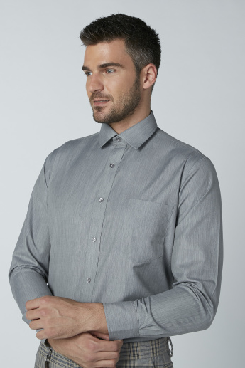 Textured Formal Shirt with Long Sleeves and Chest Pocket Detail