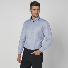 Chequred  Shirt with Patch Pocket and Long Sleeves
