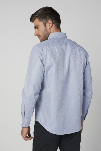 Easy Iron Checked Shirt with Patch Pocket and Long Sleeves