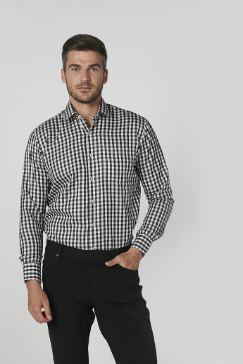 Checked Shirt with Patch Pocket and Long Sleeves
