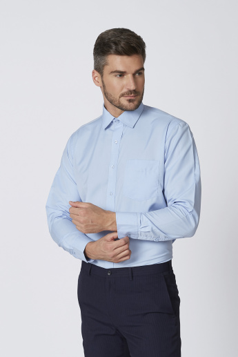 Easy Iron Solid Shirt with Spread Collar and Chest Pocket