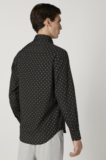 Printed Formal Shirt with Spread Collar and Long Sleeves