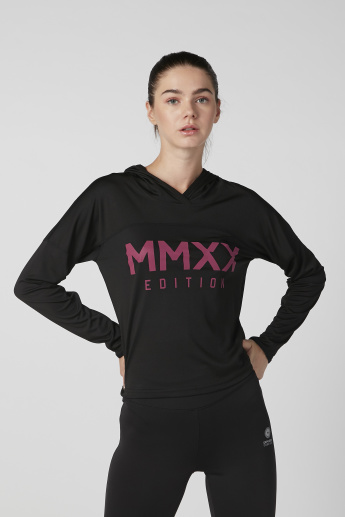 Expo 2020 Printed T-shirt with Hood and Long Sleeves